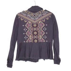 Knox Rose | Embroidered Aztec Peplum Jacket XS